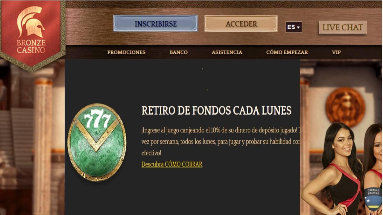 10% de bono de reembolso por retiro los lunes Bronze Casino