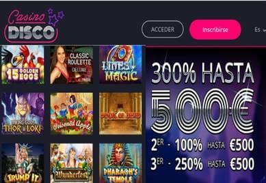 300% promocionales y hasta 500 euros por primer depósito Casino Disco